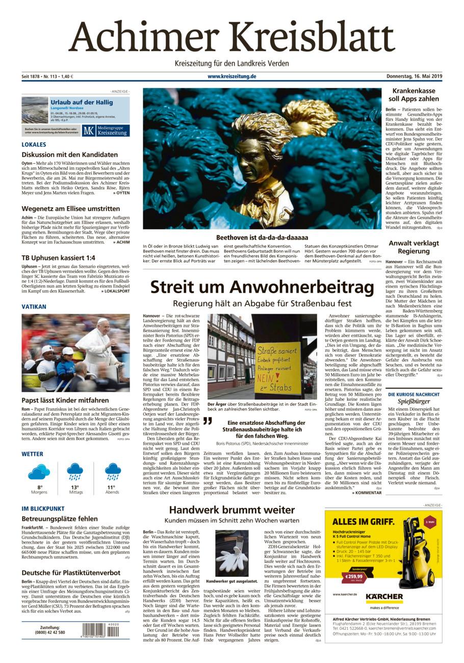 Achimer Kreisblatt vom Donnerstag, 16.05.2019