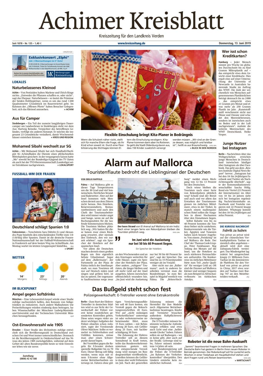 Achimer Kreisblatt vom Donnerstag, 13.06.2019