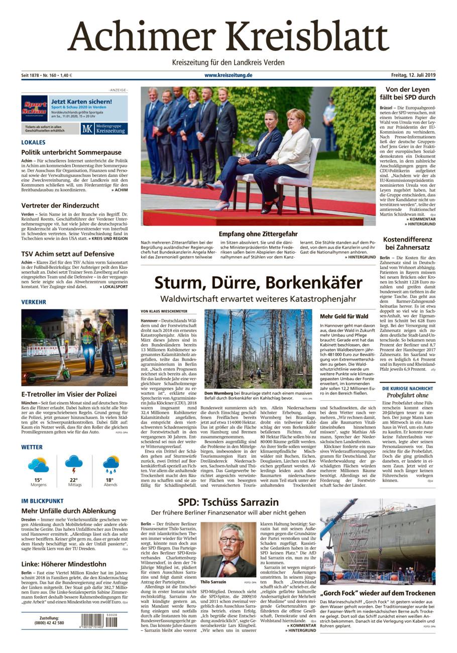 Achimer Kreisblatt vom Freitag, 12.07.2019