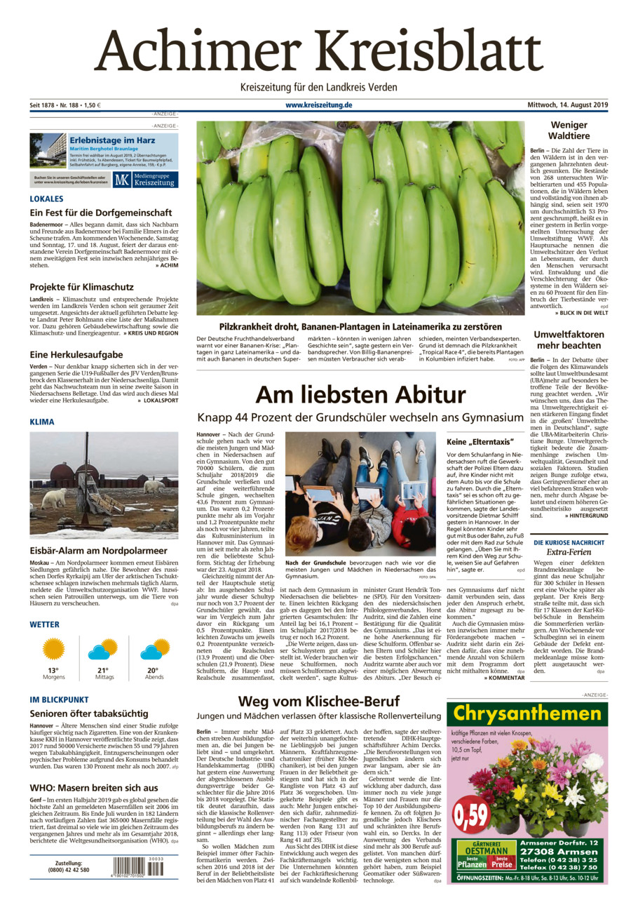 Achimer Kreisblatt vom Mittwoch, 14.08.2019