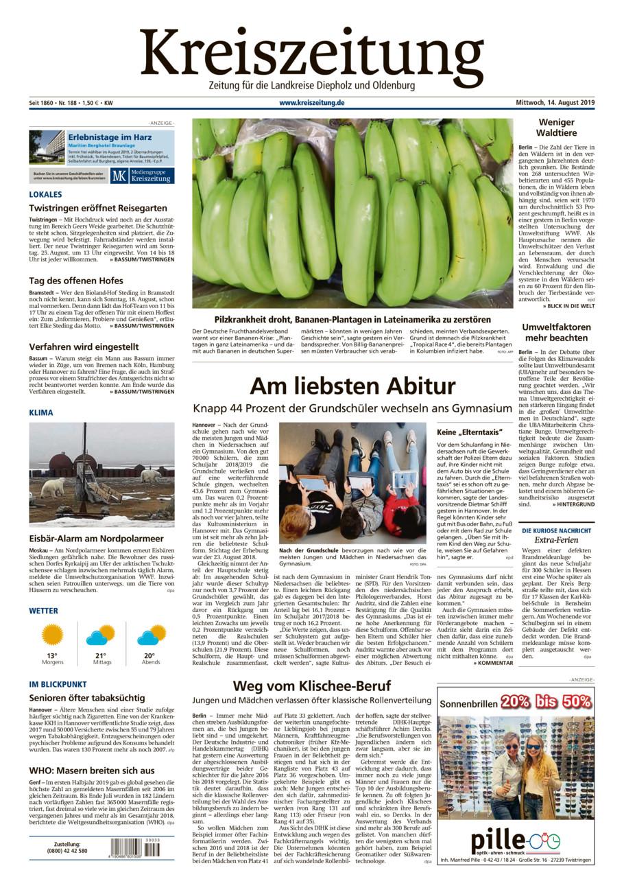 Kreiszeitung Bassum/Twistringen vom Mittwoch, 14.08.2019