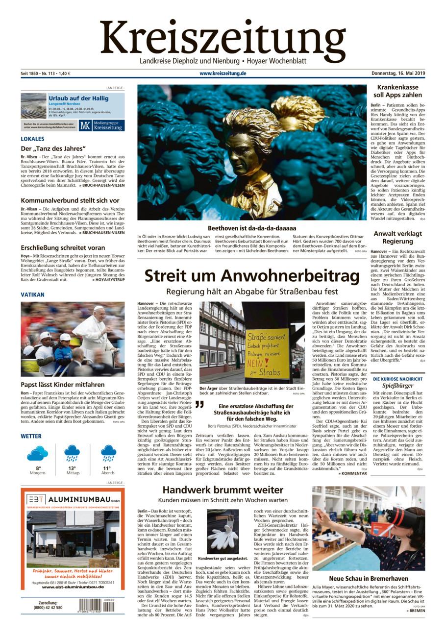 Kreiszeitung Bruchh.-Vilsen/Hoya vom Donnerstag, 16.05.2019