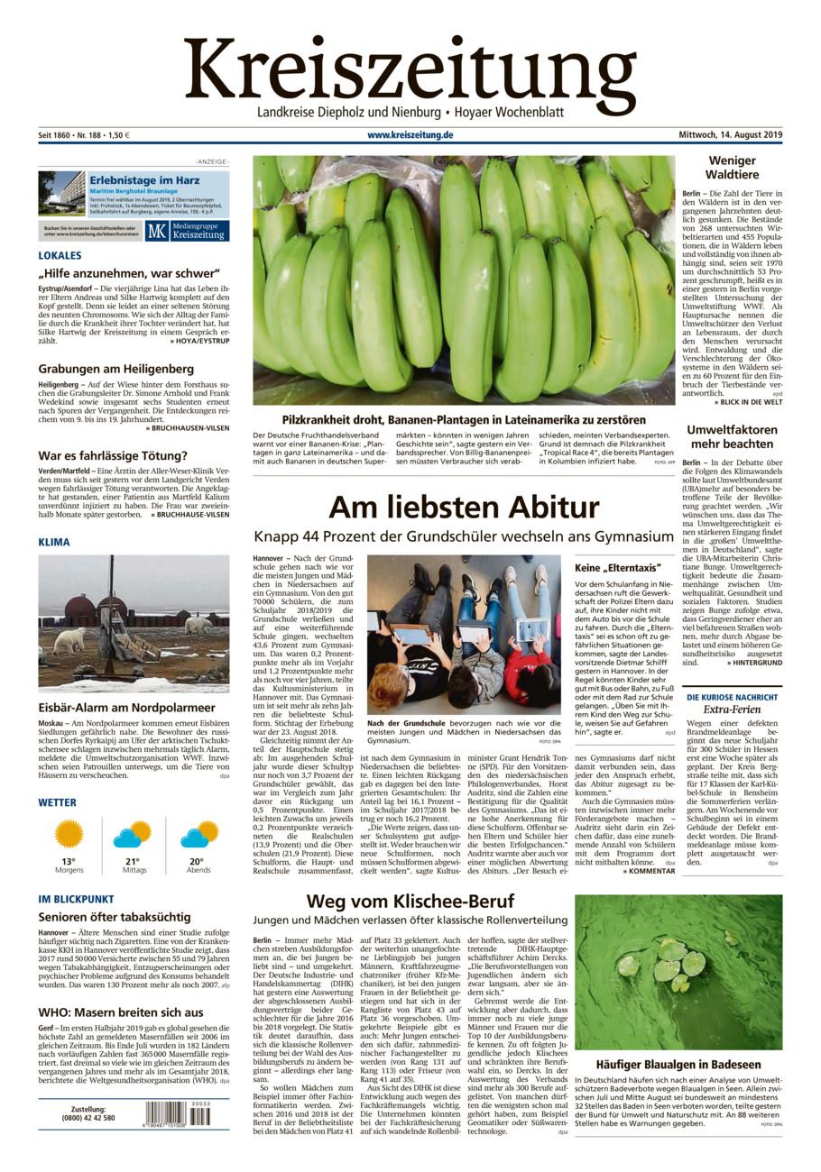 Kreiszeitung Bruchh.-Vilsen/Hoya vom Mittwoch, 14.08.2019
