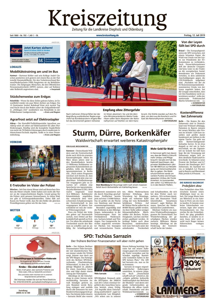 Kreiszeitung Kreis Oldenburg vom Freitag, 12.07.2019