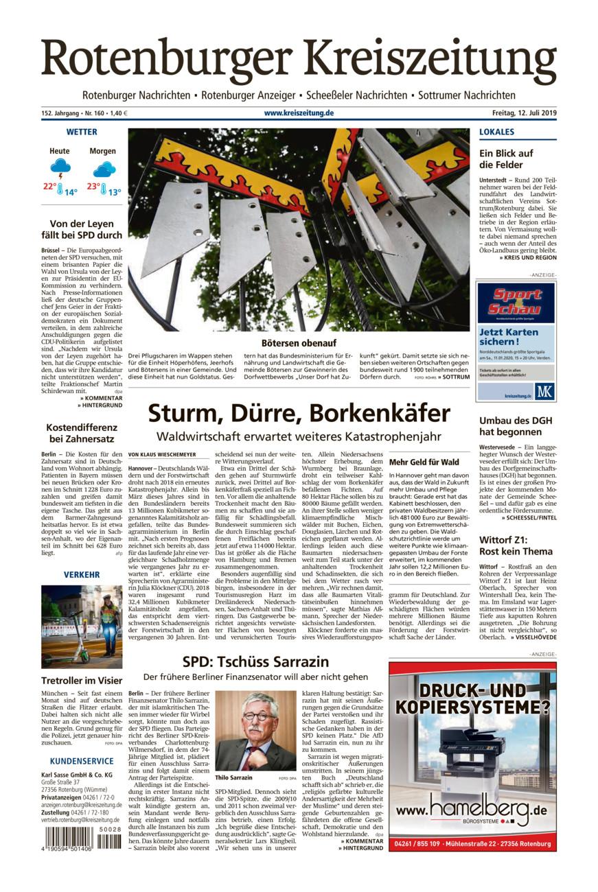 Rotenburger Kreiszeitung/Visselhöveder Nachrichten vom Freitag, 12.07.2019