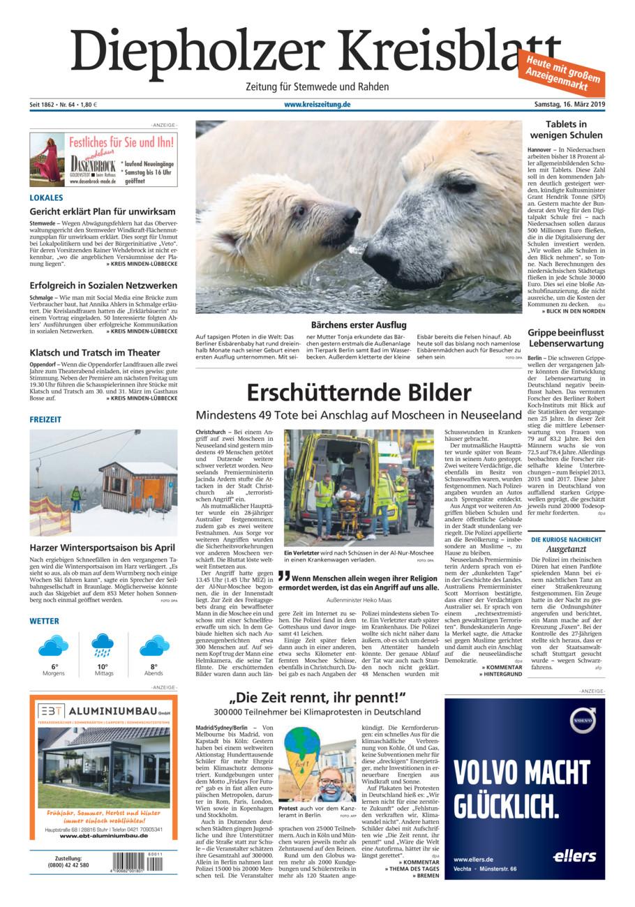 Diepholzer Kreisblatt Stemwede/Rahden vom Samstag, 16.03.2019