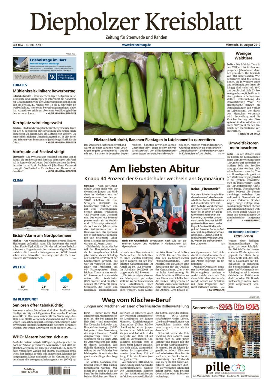 Diepholzer Kreisblatt Stemwede/Rahden vom Mittwoch, 14.08.2019