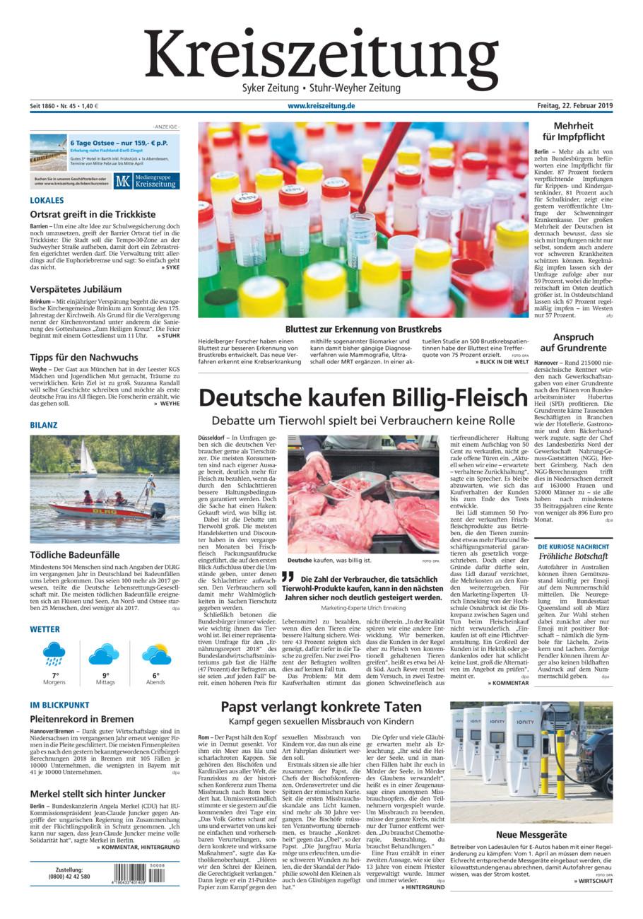 Kreiszeitung Syke/Weyhe/Stuhr vom Freitag, 22.02.2019