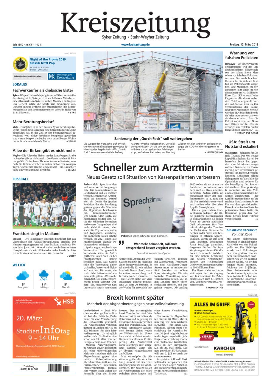 Kreiszeitung Syke/Weyhe/Stuhr vom Freitag, 15.03.2019