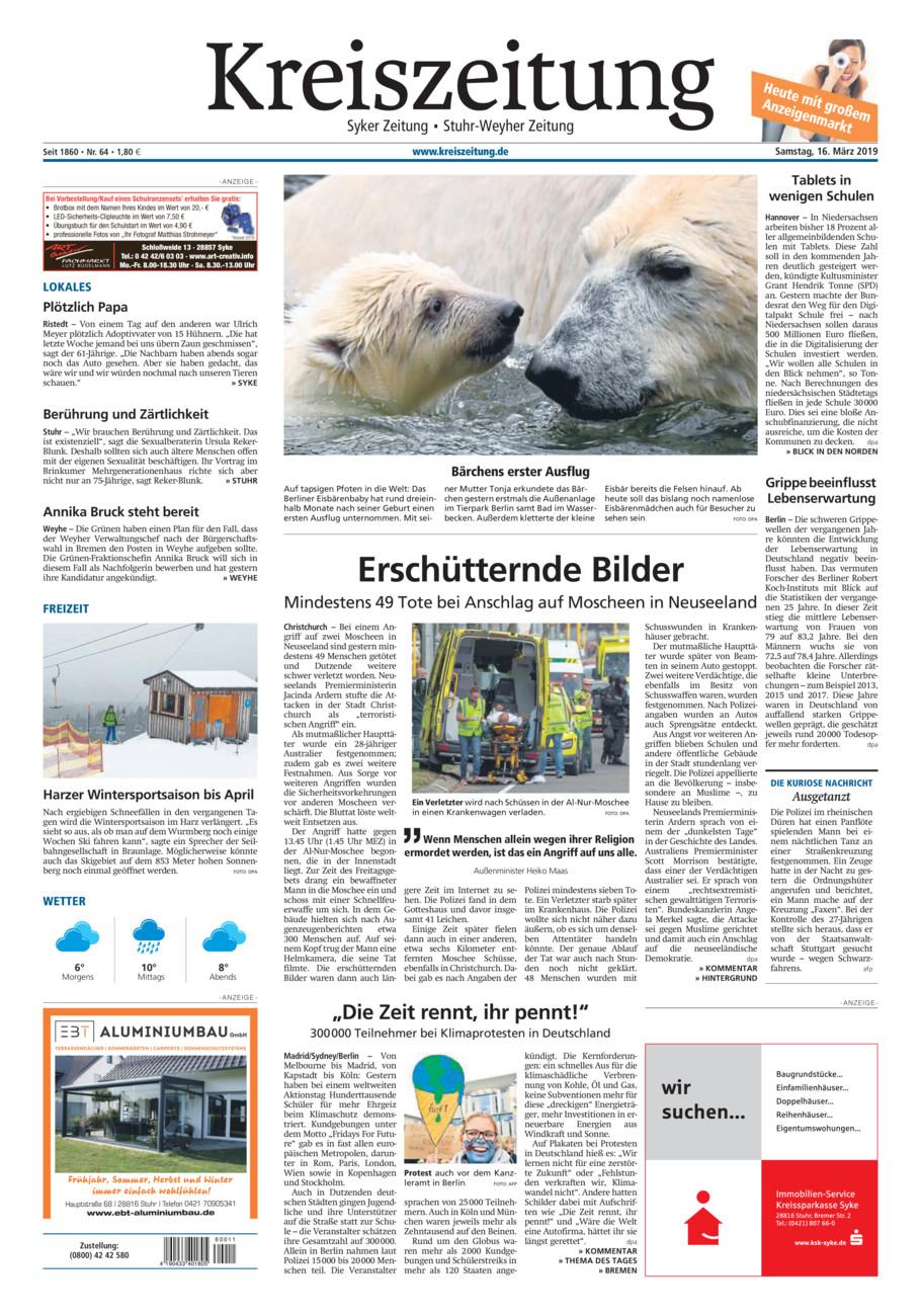 Kreiszeitung Syke/Weyhe/Stuhr vom Samstag, 16.03.2019