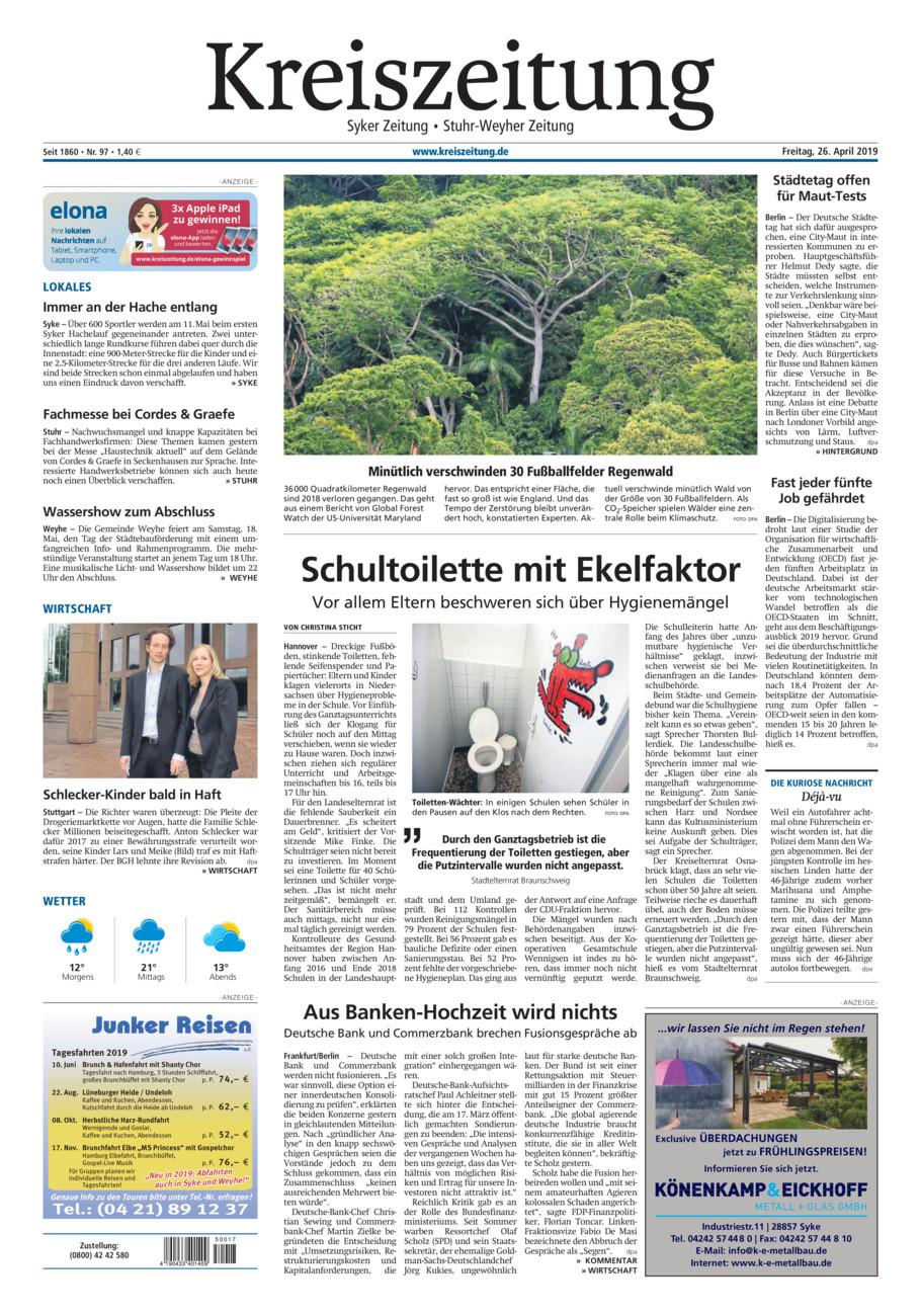 Kreiszeitung Syke/Weyhe/Stuhr vom Freitag, 26.04.2019