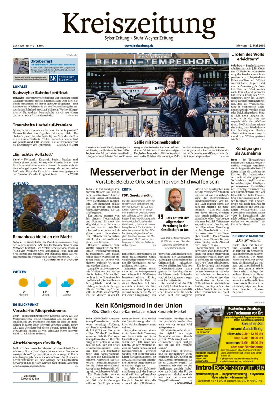 Kreiszeitung Syke/Weyhe/Stuhr vom Montag, 13.05.2019