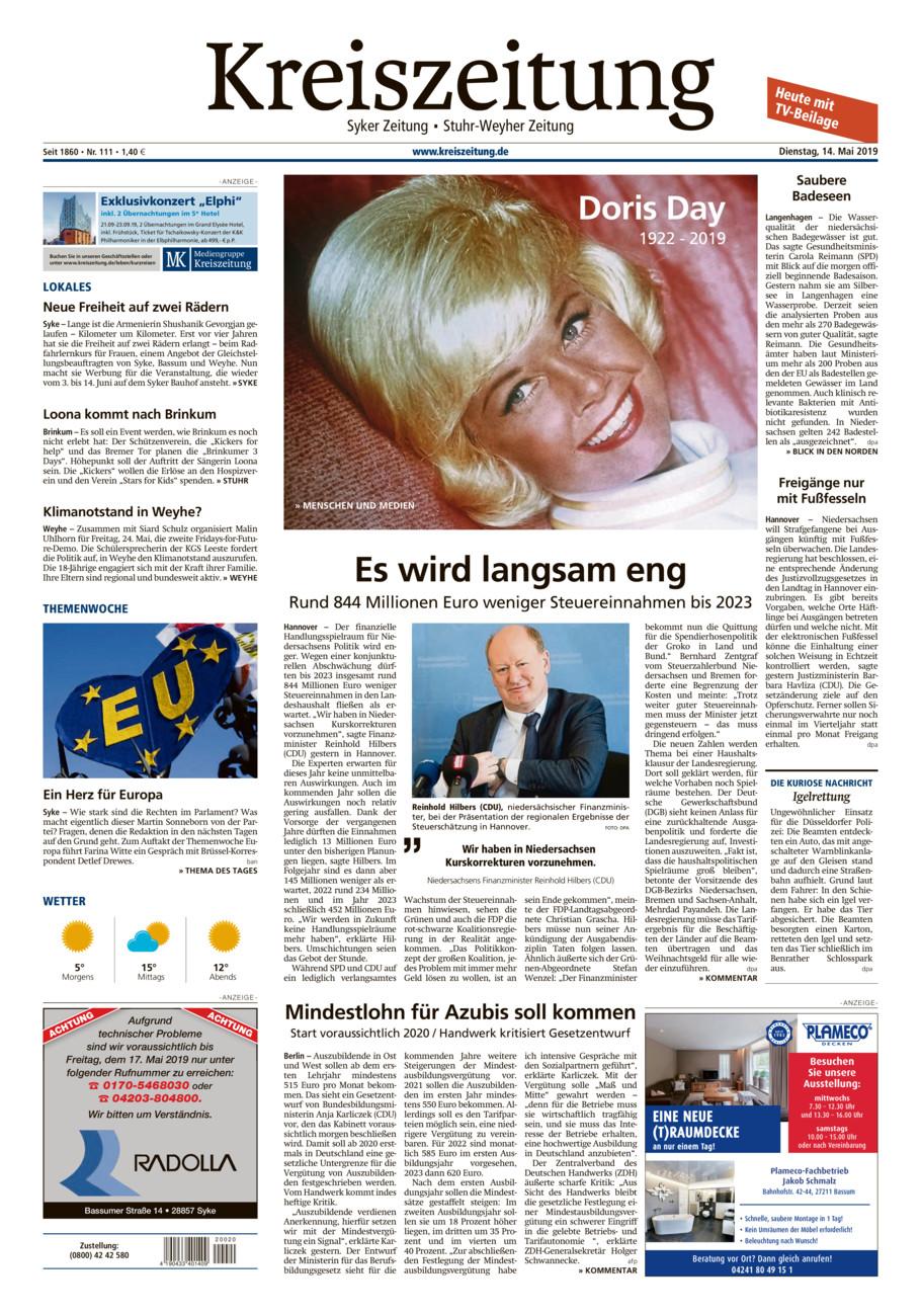 Kreiszeitung Syke/Weyhe/Stuhr vom Dienstag, 14.05.2019