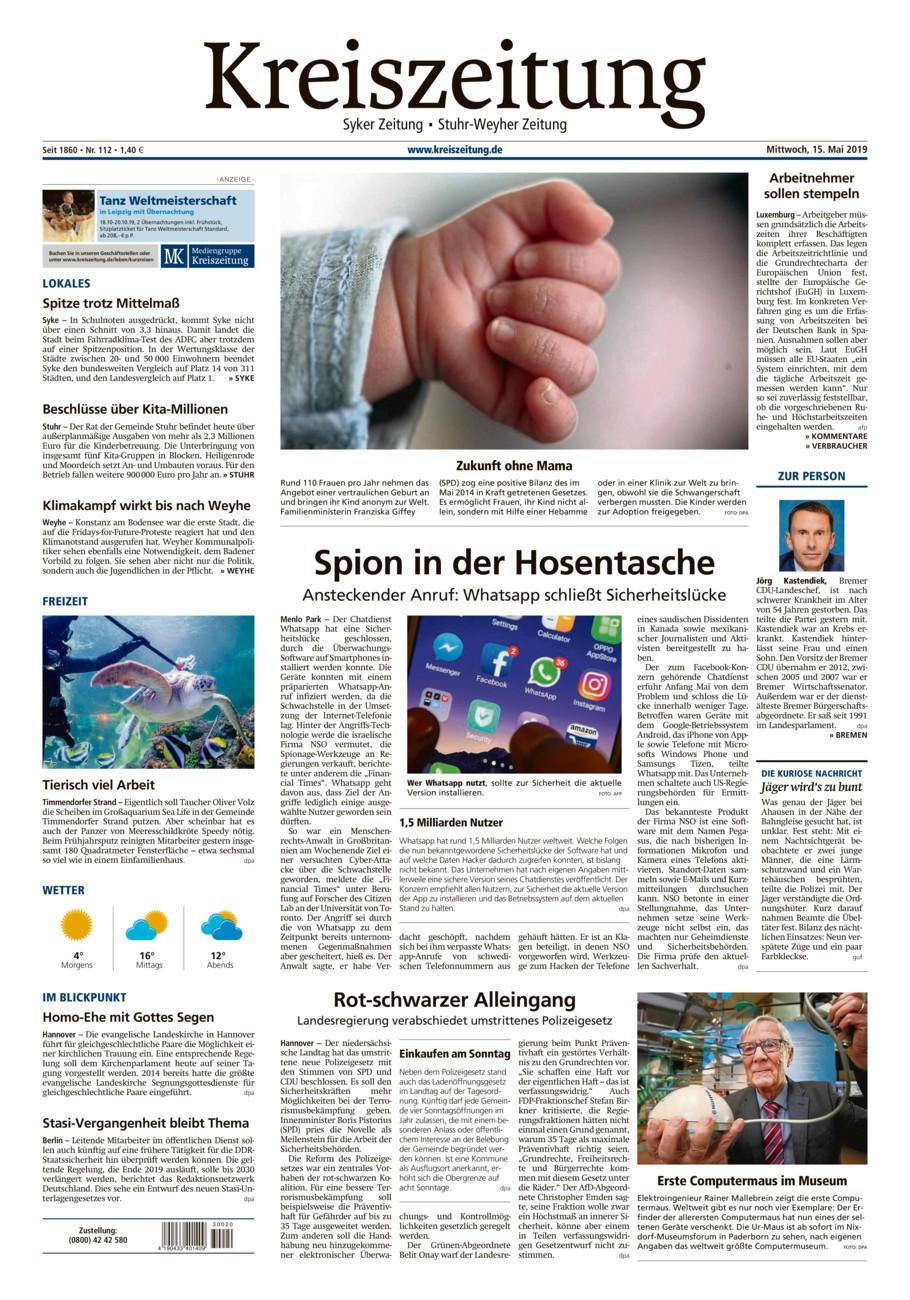 Kreiszeitung Syke/Weyhe/Stuhr vom Mittwoch, 15.05.2019