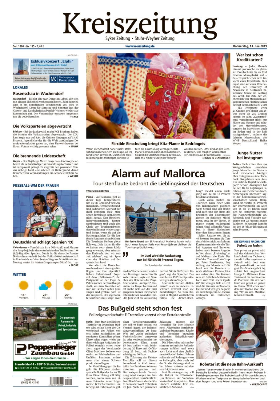 Kreiszeitung Syke/Weyhe/Stuhr vom Donnerstag, 13.06.2019