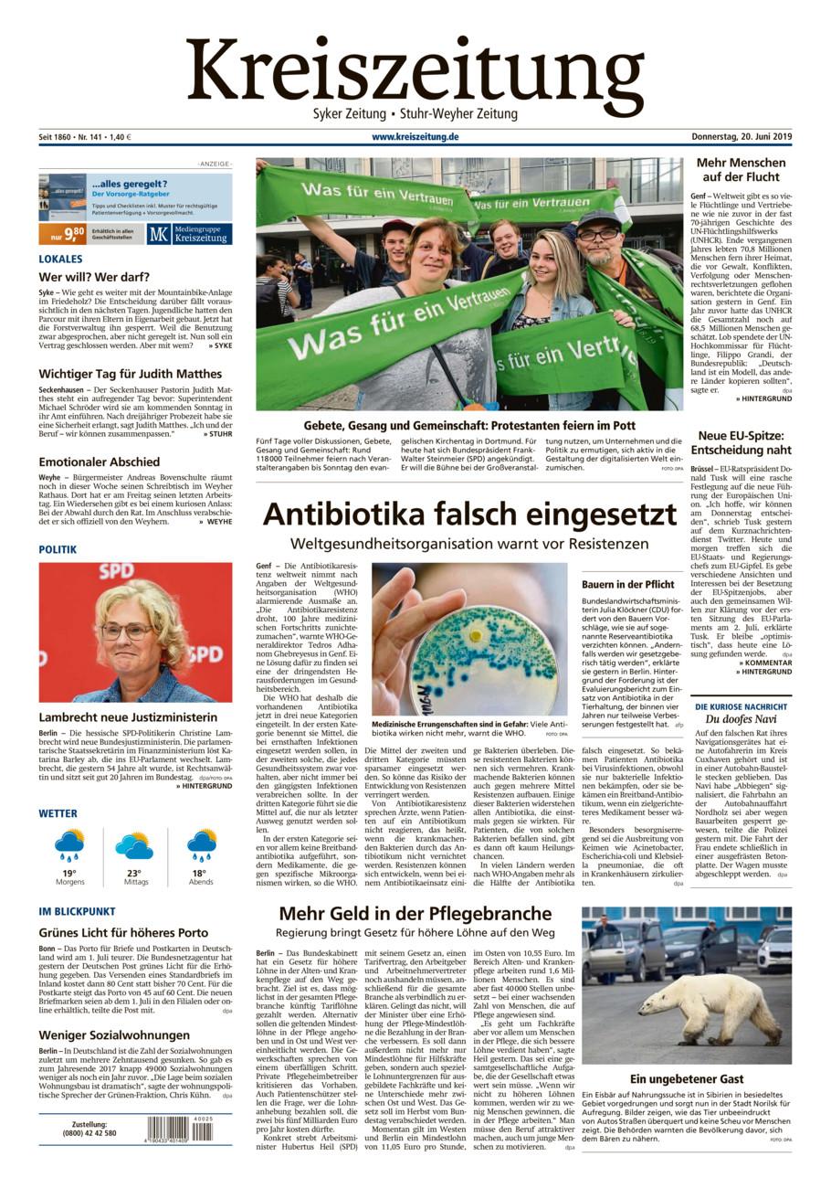 Kreiszeitung Syke/Weyhe/Stuhr vom Donnerstag, 20.06.2019
