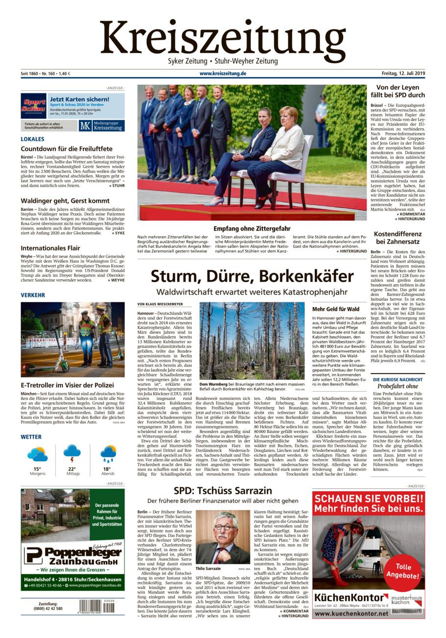 Kreiszeitung Syke/Weyhe/Stuhr vom Freitag, 12.07.2019
