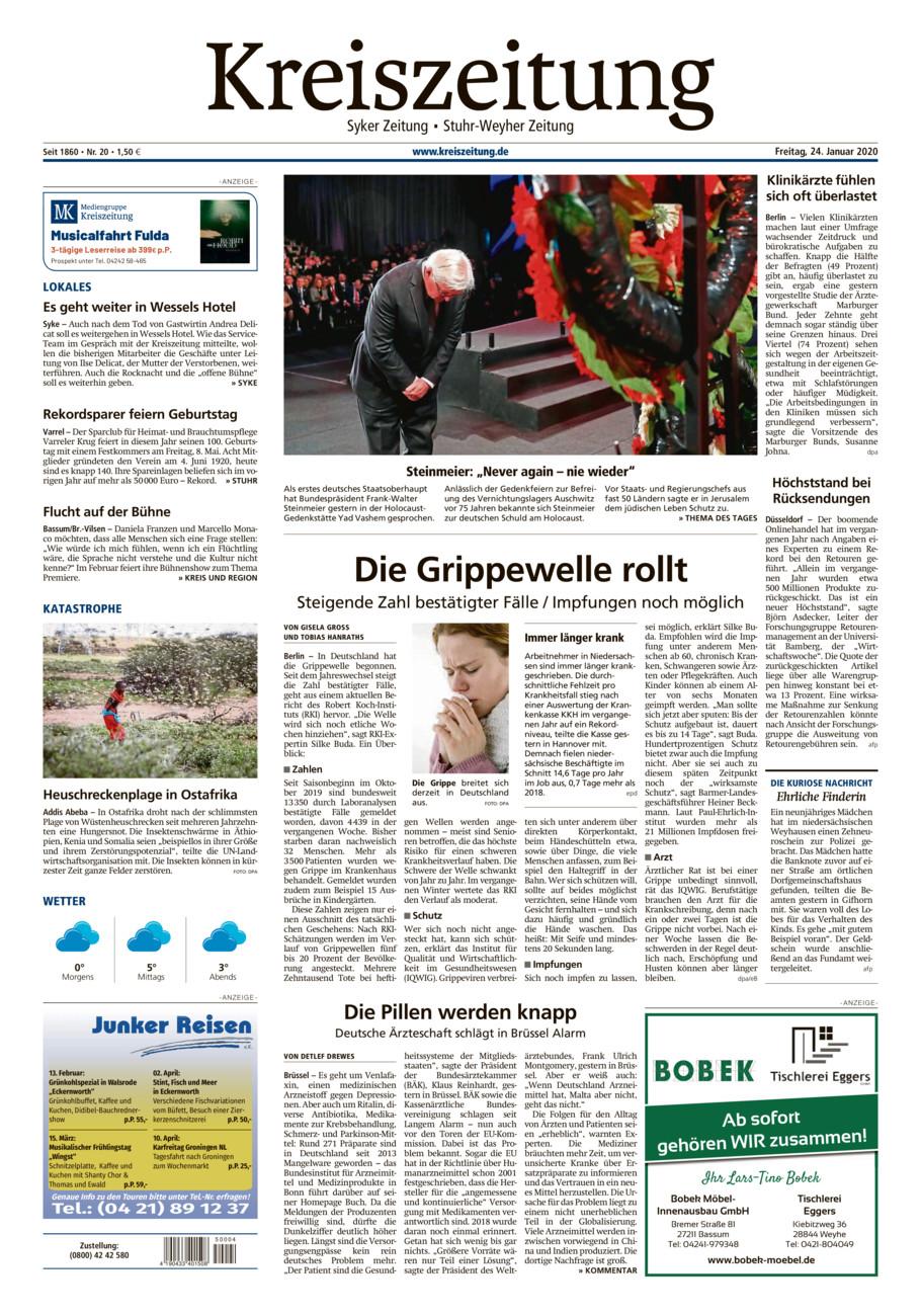 Kreiszeitung Syke/Weyhe/Stuhr vom Freitag, 24.01.2020