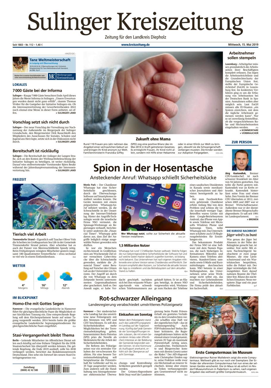 Sulinger Kreiszeitung vom Mittwoch, 15.05.2019