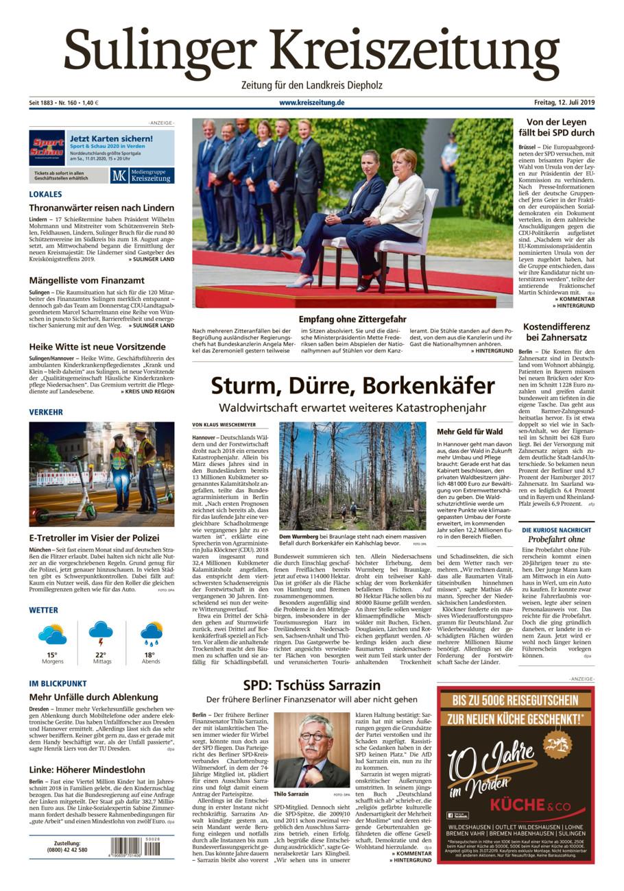 Sulinger Kreiszeitung vom Freitag, 12.07.2019