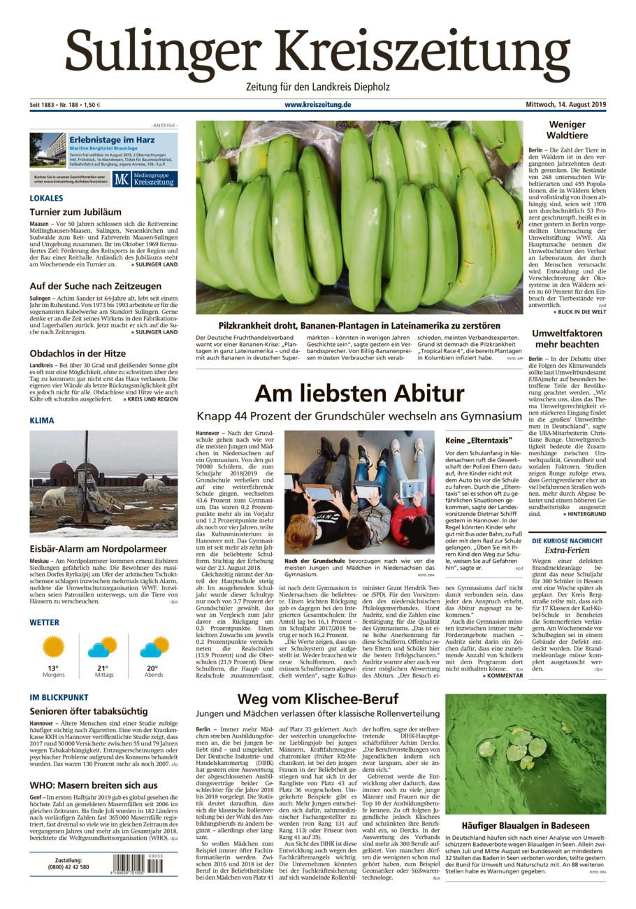 Sulinger Kreiszeitung vom Mittwoch, 14.08.2019