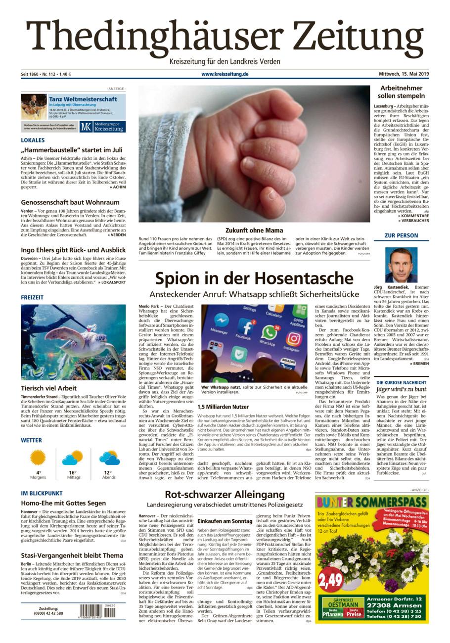Thedinghäuser Zeitung vom Mittwoch, 15.05.2019