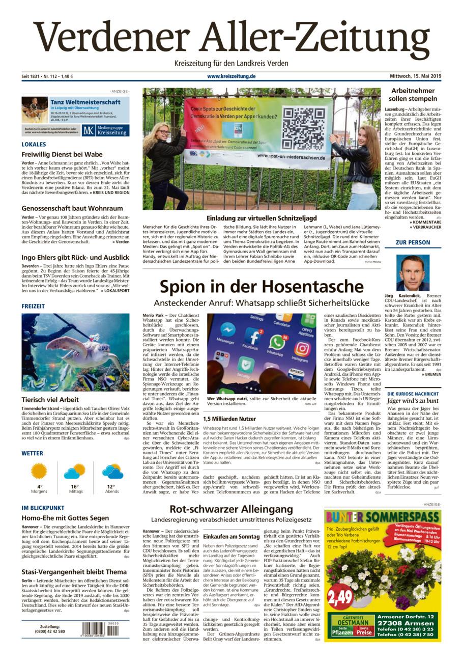 Verdener Aller-Zeitung vom Mittwoch, 15.05.2019