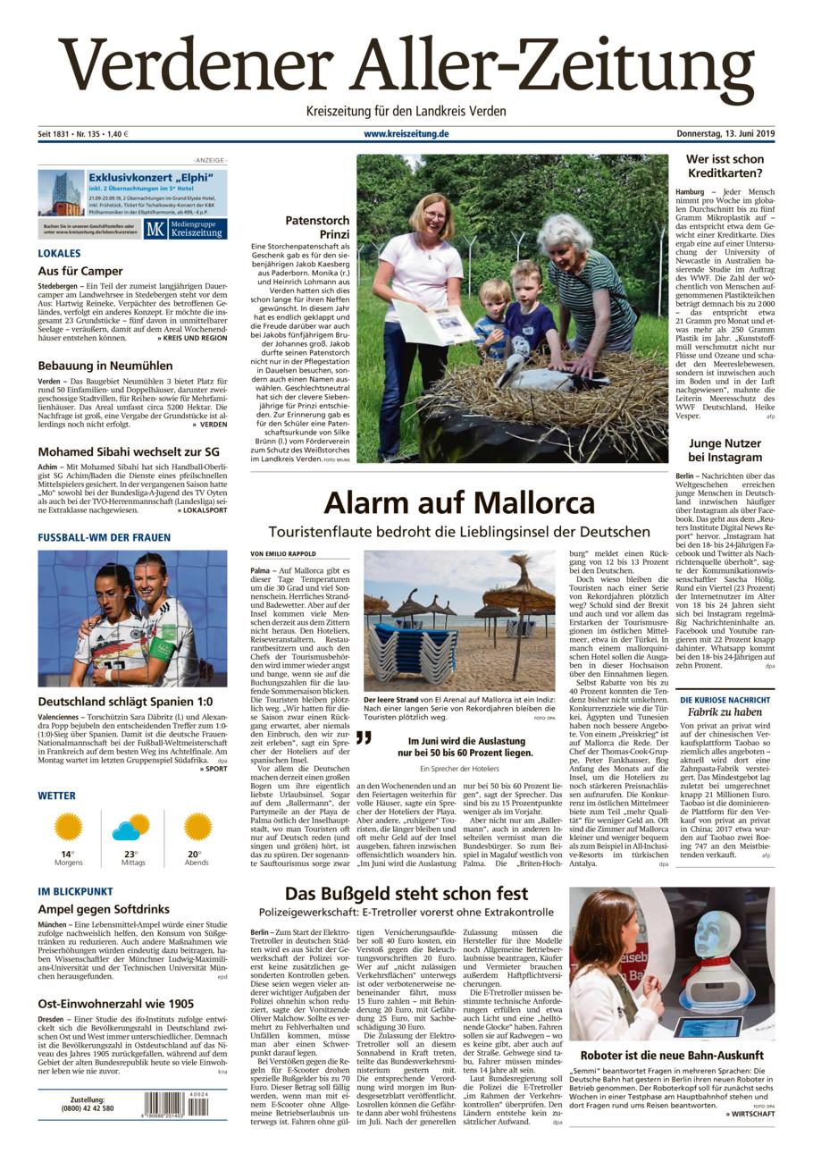 Verdener Aller-Zeitung vom Donnerstag, 13.06.2019