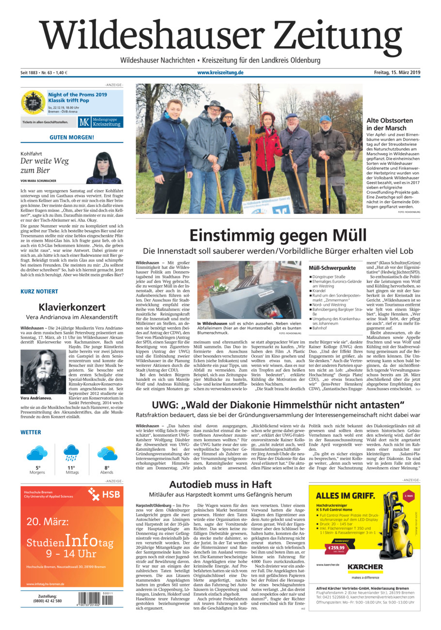 Wildeshauser Zeitung vom Freitag, 15.03.2019