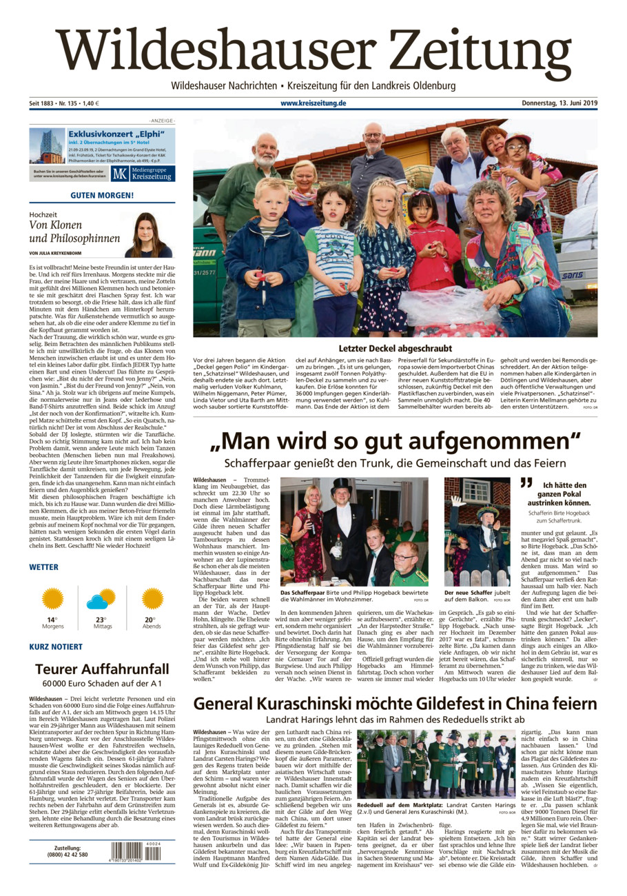 Wildeshauser Zeitung vom Donnerstag, 13.06.2019