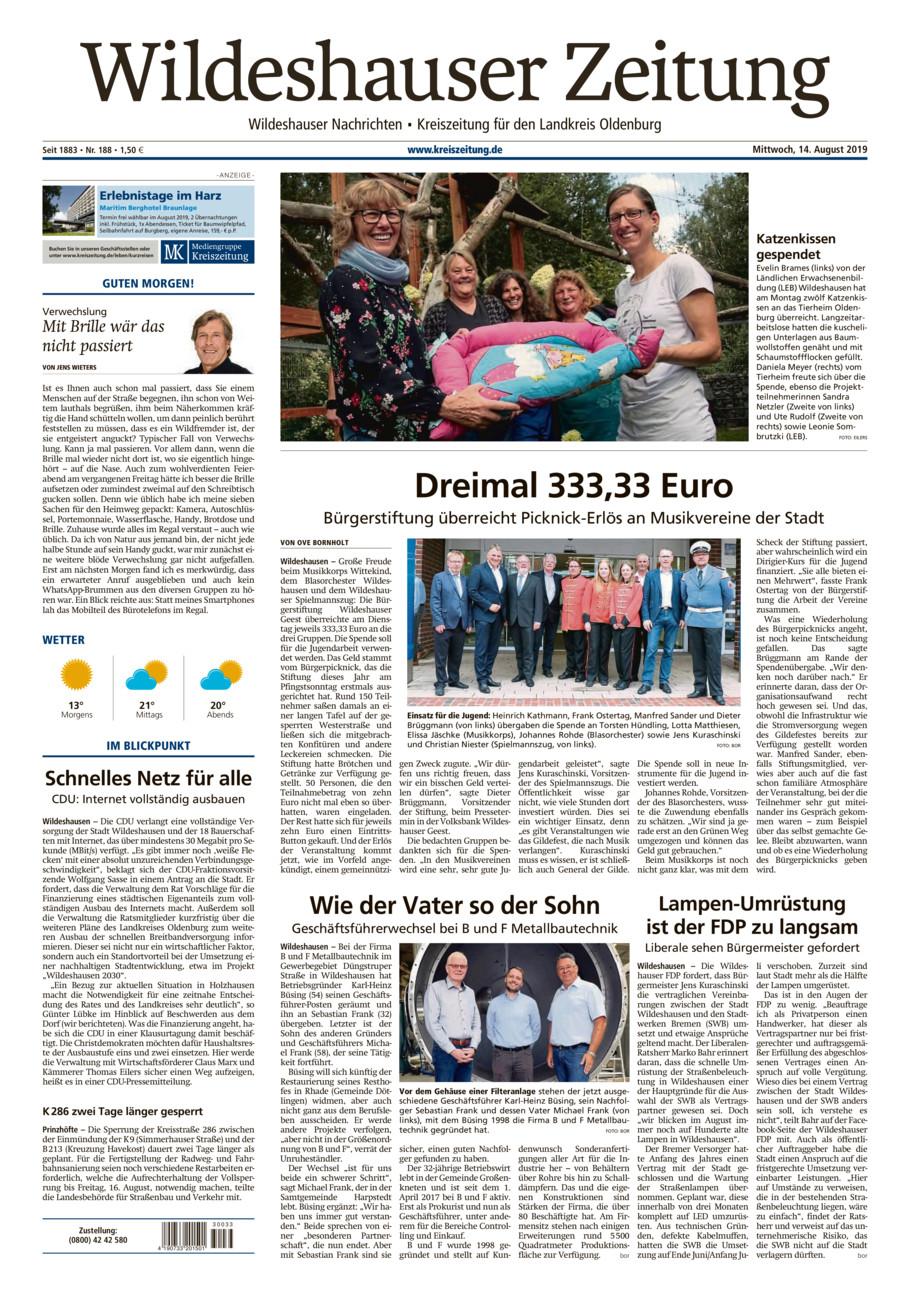 Wildeshauser Zeitung vom Mittwoch, 14.08.2019