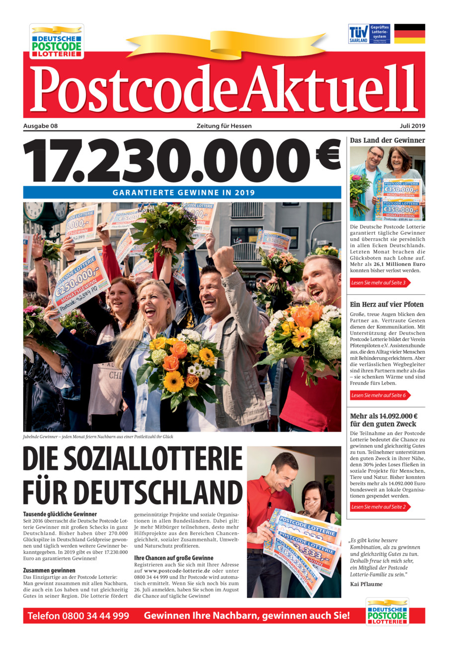 Postcode Lotterie vom Montag, 15.07.2019