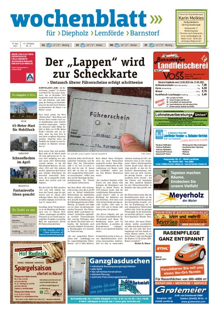 Barnstorfer Wochenblatt vom 10.04.2021