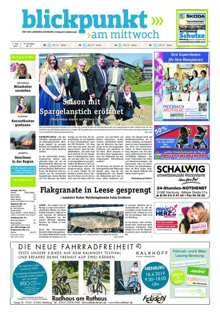 Blickpunkt Nienburg am Mittwoch vom 17.04.2019