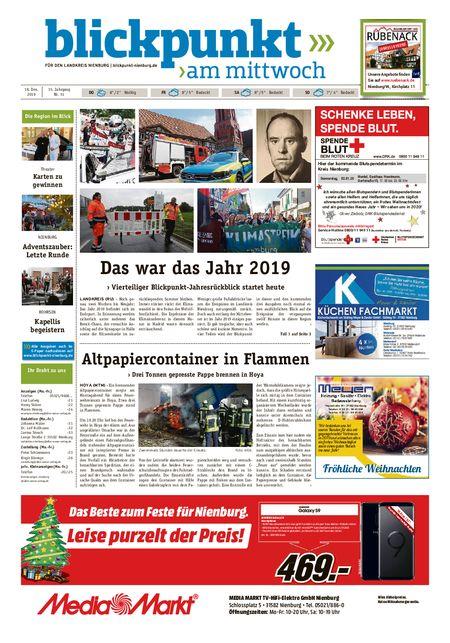 Blickpunkt Nienburg am Mittwoch vom 18.12.2019