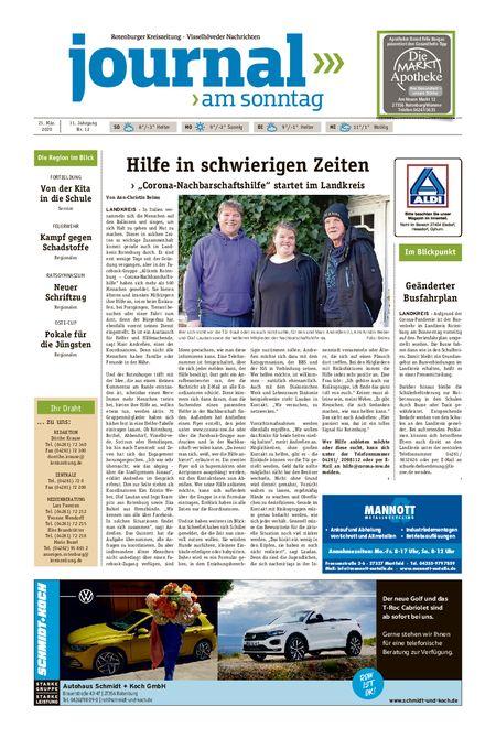 Journal am Sonntag vom 21.03.2020