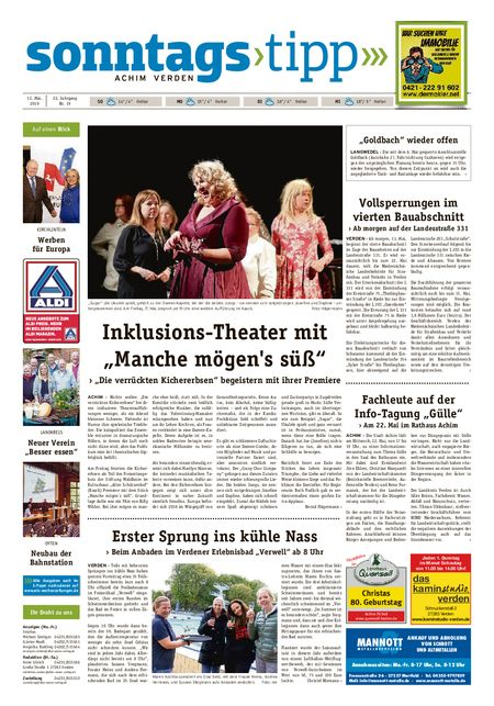 Sonntags-Tipp Achim-Verden vom 12.05.2019