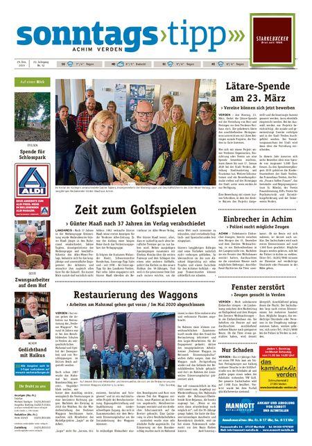 Sonntags-Tipp Achim-Verden vom 29.12.2019