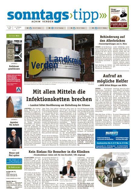 Sonntags-Tipp Achim-Verden vom 21.03.2020