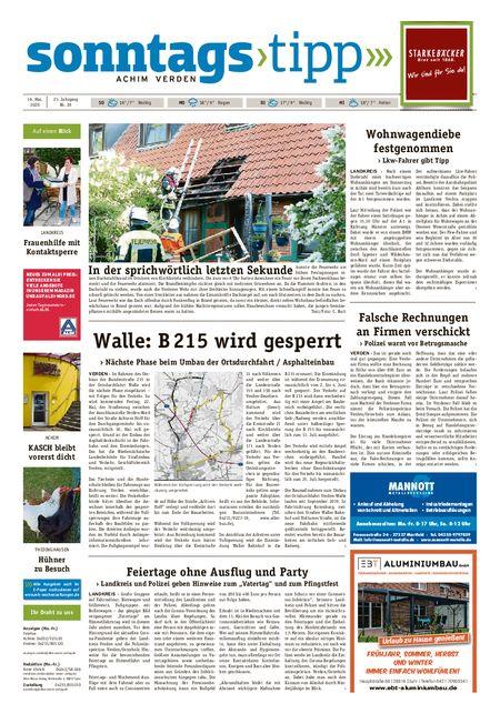 Sonntags-Tipp Achim-Verden vom 16.05.2020