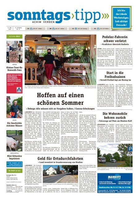Sonntags-Tipp Achim-Verden vom 23.05.2020