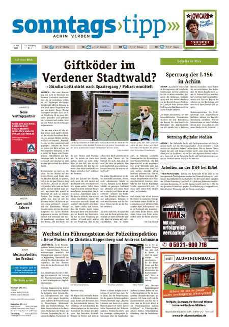 Sonntags-Tipp Achim-Verden vom 16.01.2021