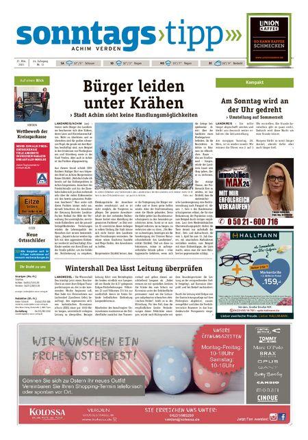 Sonntags-Tipp Achim-Verden vom 27.03.2021
