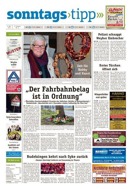 Sonntags-Tipp Syke-Weyhe-Bassum vom 10.11.2019