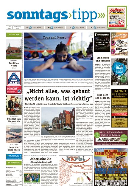 Sonntags-Tipp Syke-Weyhe-Bassum vom 04.01.2020