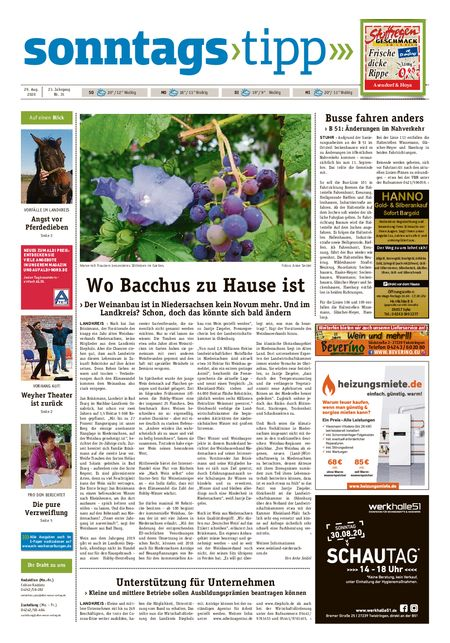 Sonntags-Tipp Syke-Weyhe-Bassum vom 29.08.2020