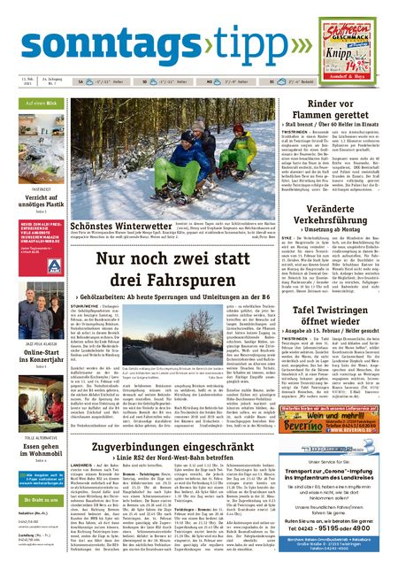 Sonntags-Tipp Syke-Weyhe-Bassum vom 13.02.2021