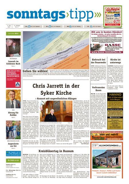 Sonntags-Tipp Syke-Weyhe-Bassum vom 11.09.2021