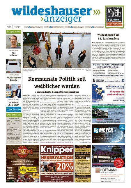 Wildeshauser Anzeiger vom 24.09.2020