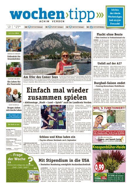 Wochen-Tipp Achim vom 04.09.2019